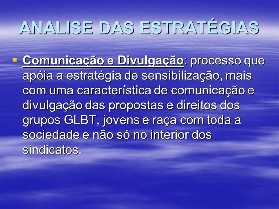 ANALISE DAS ESTRATÉGIAS Comunicação e Divulgação: processo que apóia a estratégia de sensibilização, mais com uma característica de comunicação e divu