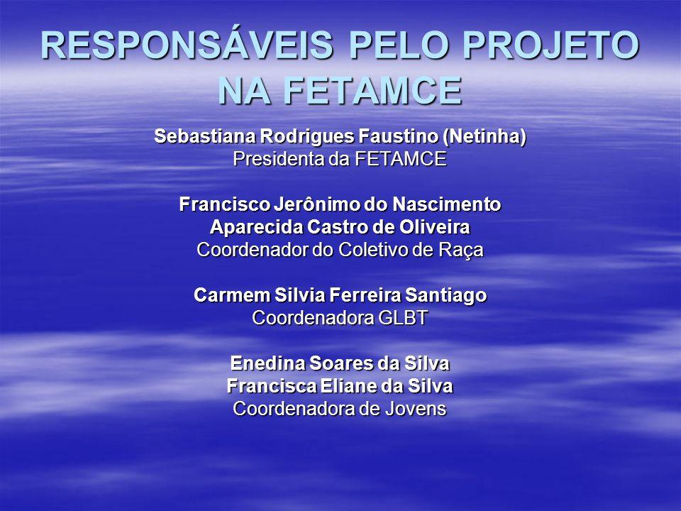 RESPONSÁVEIS PELO PROJETO NA FETAMCE Sebastiana Rodrigues Faustino (Netinha) Presidenta da FETAMCE Francisco Jerônimo do Nascimento Aparecida Castro d