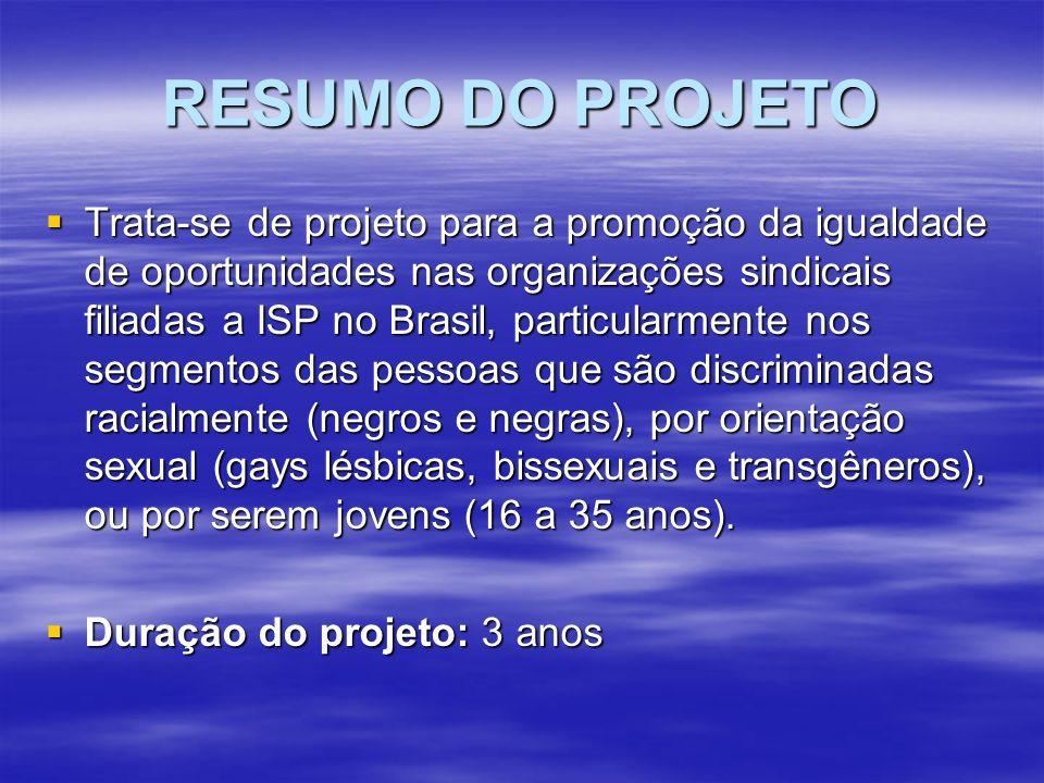 RESUMO DO PROJETO Trata-se de projeto para a promoção da igualdade de oportunidades nas organizações sindicais filiadas a ISP no Brasil, particularmente nos segmentos das pessoas que são discriminadas racialmente (negros e negras), por orientação sexual (gays lésbicas, bissexuais e transgêneros), ou por serem jovens (16 a 35 anos).
