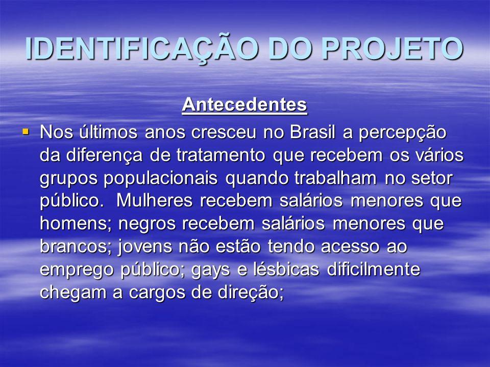 IDENTIFICAÇÃO DO PROJETO Antecedentes Nos últimos anos cresceu no Brasil a percepção da diferença de tratamento que recebem os vários grupos populacionais quando trabalham no setor público.