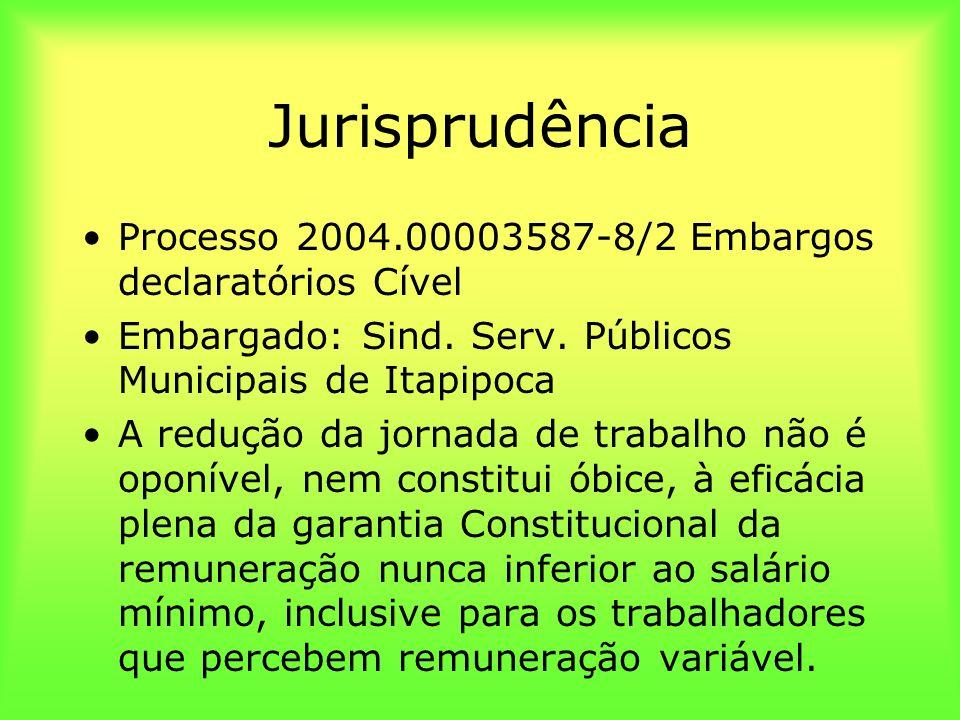 Jurisprudência Processo 2004.00003587-8/2 Embargos declaratórios Cível Embargado: Sind. Serv. Públicos Municipais de Itapipoca A redução da jornada de