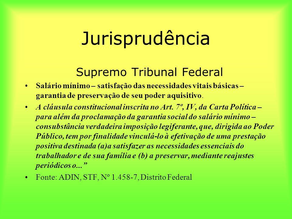 Jurisprudência Supremo Tribunal Federal Salário mínimo – satisfação das necessidades vitais básicas – garantia de preservação de seu poder aquisitivo.