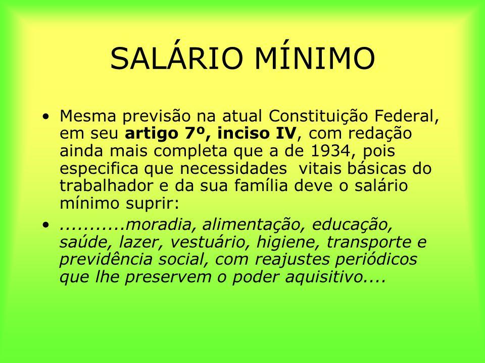 SALÁRIO MÍNIMO Mesma previsão na atual Constituição Federal, em seu artigo 7º, inciso IV, com redação ainda mais completa que a de 1934, pois especifi