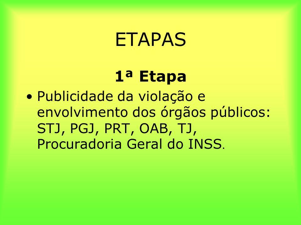 ETAPAS 1ª Etapa Publicidade da violação e envolvimento dos órgãos públicos: STJ, PGJ, PRT, OAB, TJ, Procuradoria Geral do INSS.