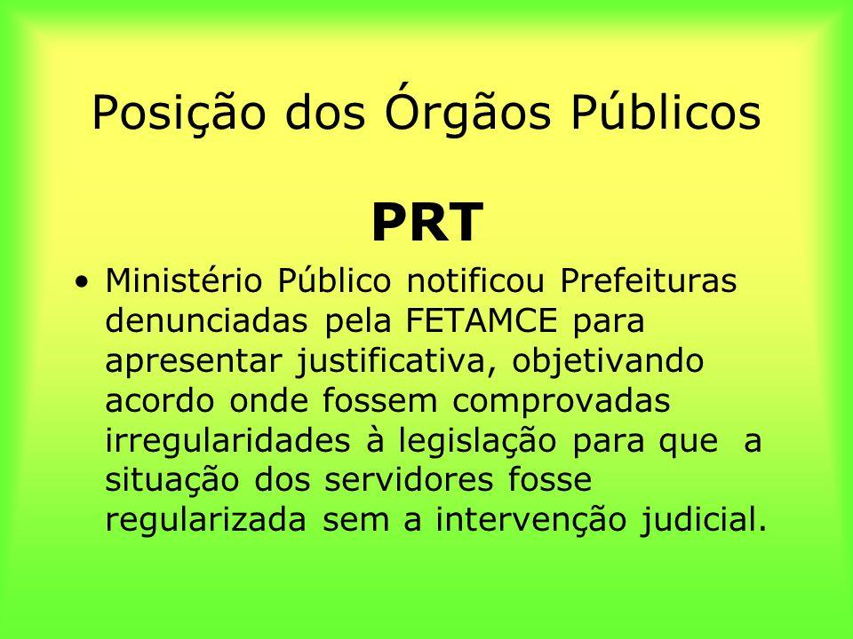 Posição dos Órgãos Públicos PRT Ministério Público notificou Prefeituras denunciadas pela FETAMCE para apresentar justificativa, objetivando acordo on