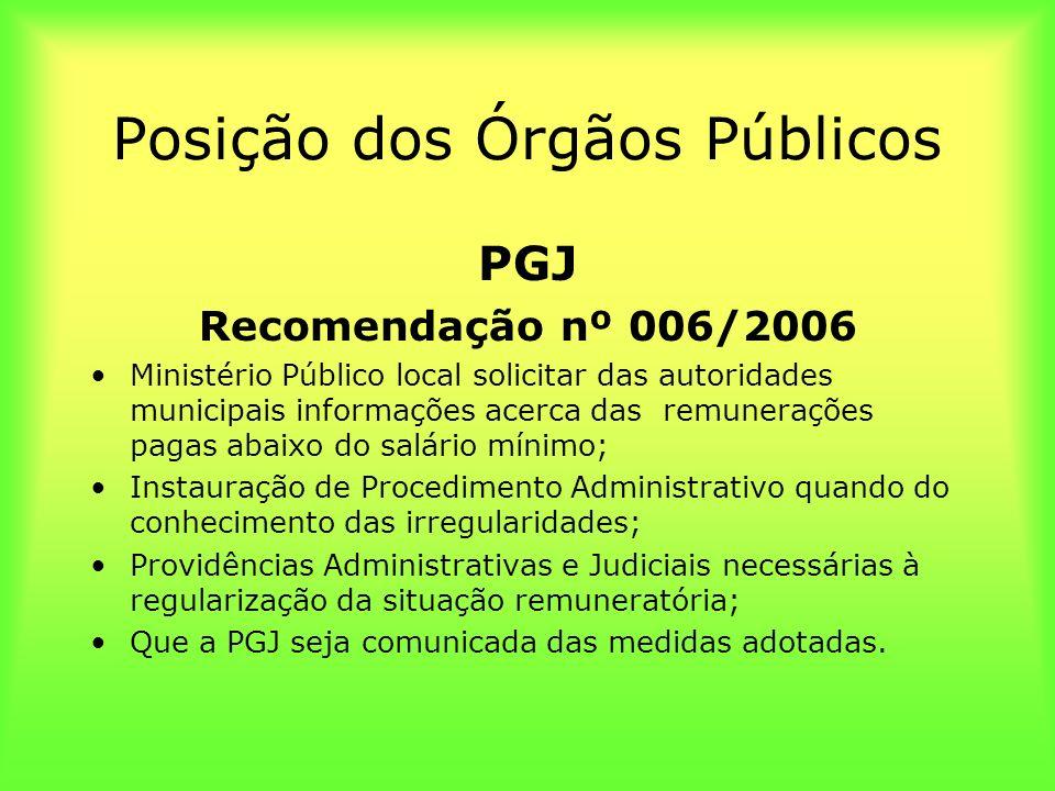 Posição dos Órgãos Públicos PGJ Recomendação nº 006/2006 Ministério Público local solicitar das autoridades municipais informações acerca das remunera