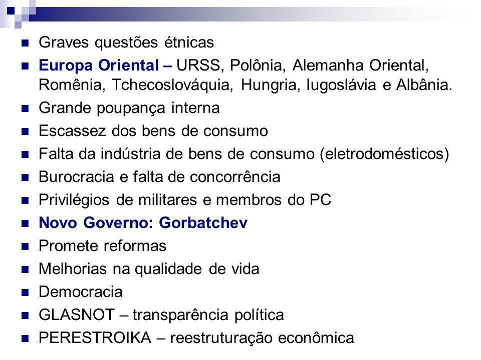 Graves questões étnicas Europa Oriental – URSS, Polônia, Alemanha Oriental, Romênia, Tchecoslováquia, Hungria, Iugoslávia e Albânia.