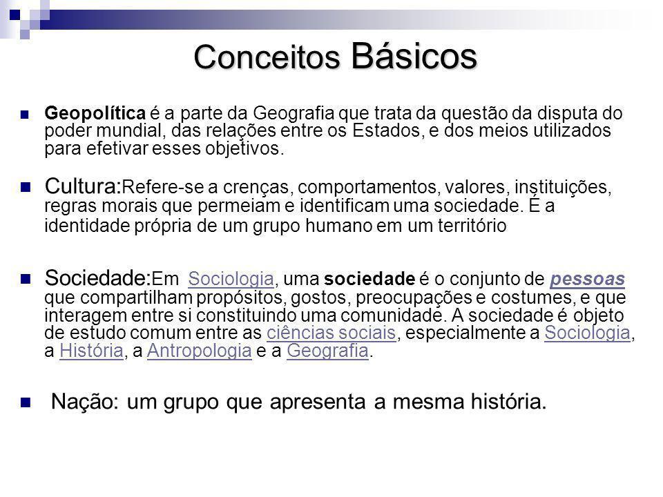 Conceitos Básicos Geopolítica é a parte da Geografia que trata da questão da disputa do poder mundial, das relações entre os Estados, e dos meios utilizados para efetivar esses objetivos.