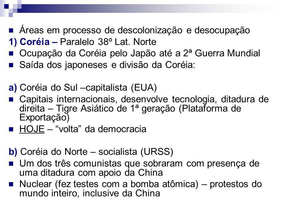 Áreas em processo de descolonização e desocupação 1) Coréia – Paralelo 38º Lat.