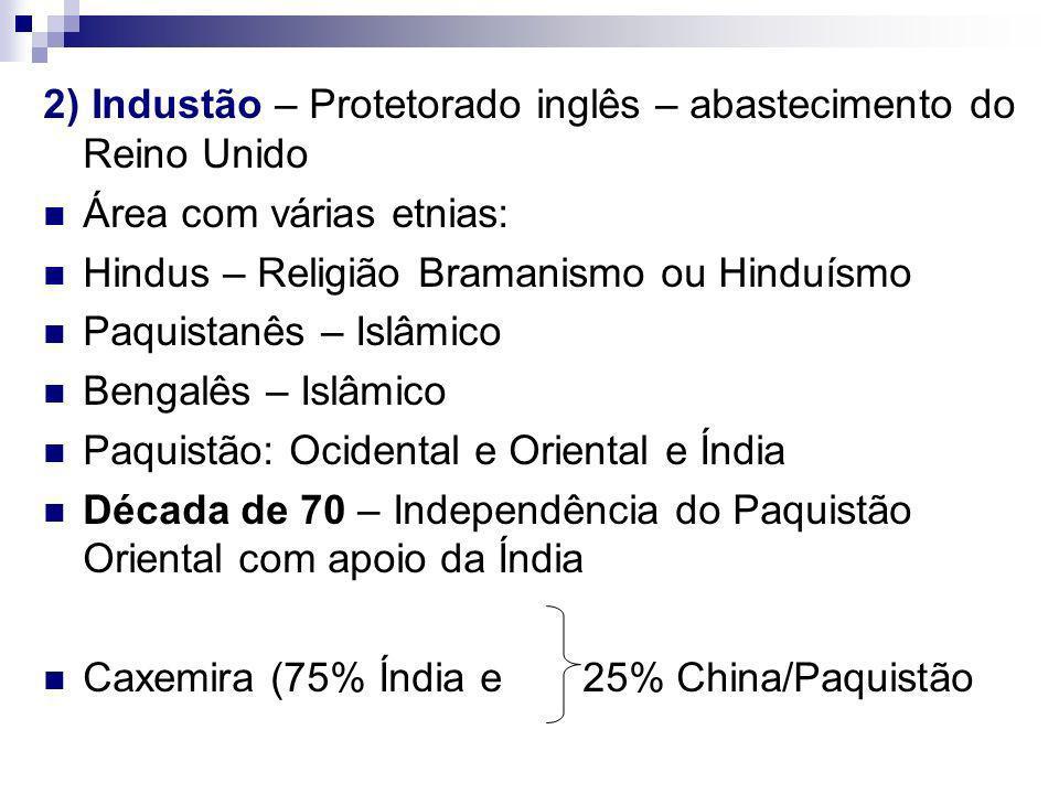 2) Industão – Protetorado inglês – abastecimento do Reino Unido Área com várias etnias: Hindus – Religião Bramanismo ou Hinduísmo Paquistanês – Islâmico Bengalês – Islâmico Paquistão: Ocidental e Oriental e Índia Década de 70 – Independência do Paquistão Oriental com apoio da Índia Caxemira (75% Índia e 25% China/Paquistão