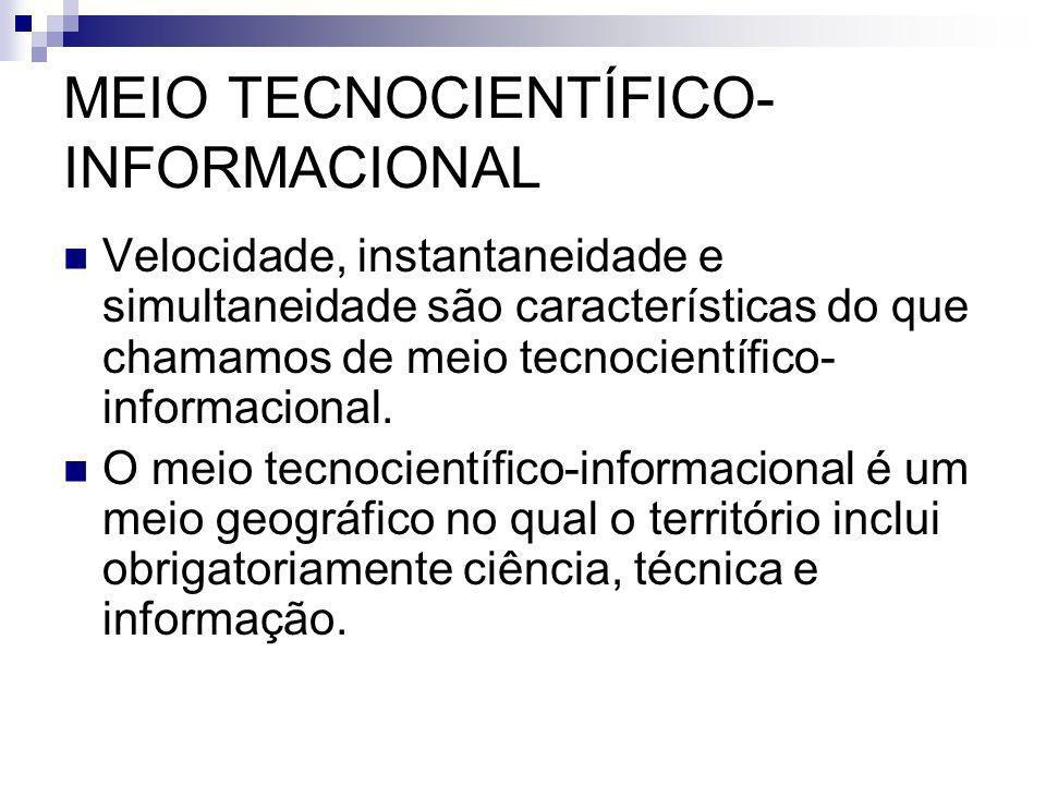 MEIO TECNOCIENTÍFICO- INFORMACIONAL Velocidade, instantaneidade e simultaneidade são características do que chamamos de meio tecnocientífico- informacional.