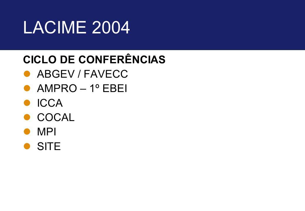 LACIME 2004 CICLO DE CONFERÊNCIAS lABGEV / FAVECC lAMPRO – 1º EBEI lICCA lCOCAL lMPI lSITE
