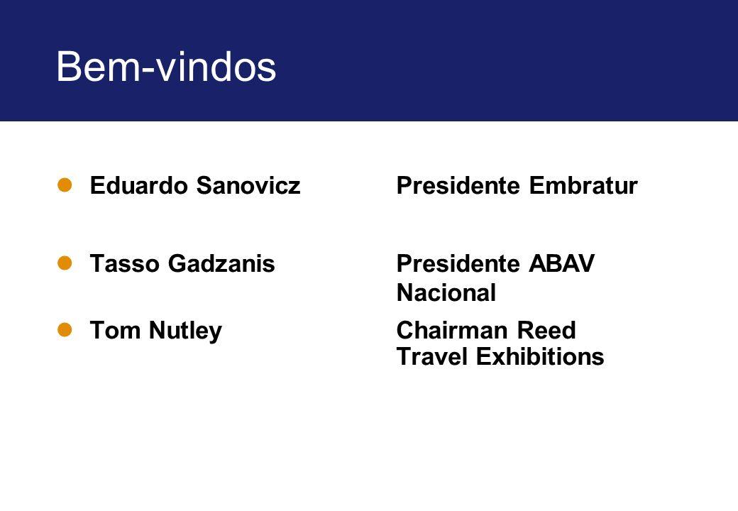 Bem-vindos lEduardo Sanovicz Presidente Embratur lTasso Gadzanis Presidente ABAV Nacional lTom Nutley Chairman Reed Travel Exhibitions