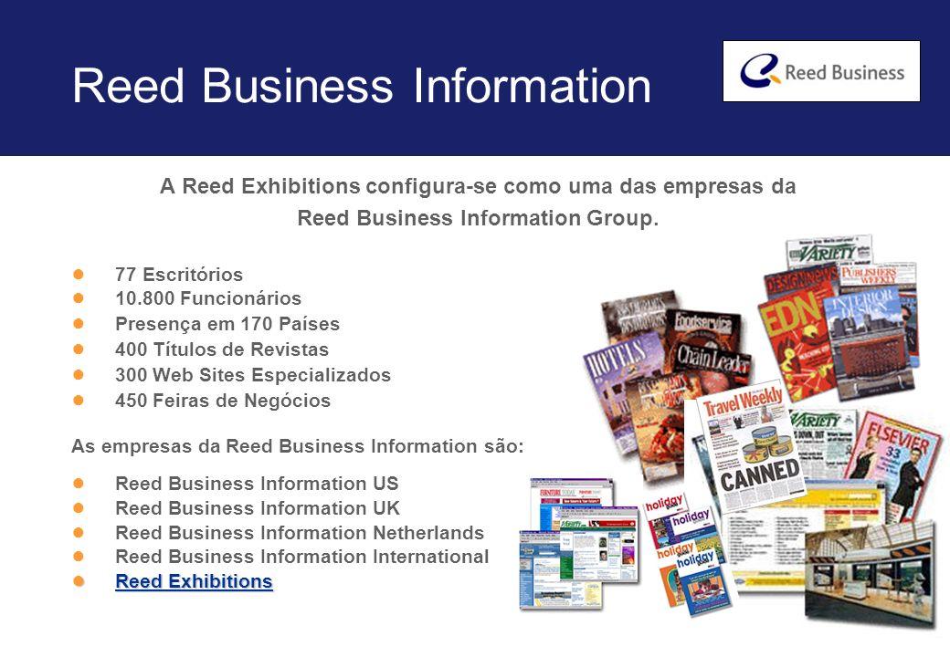 Reed Exhibitions 46 escritórios em 32 países A maior organizadora de feiras de negócios do mundo 450 Feiras em 49 Indústrias 9 milhões de visitantes 156 mil expositores 2,2 mil funcionários