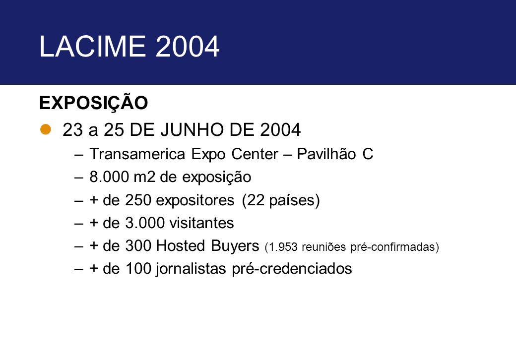LACIME 2004 EXPOSIÇÃO l23 a 25 DE JUNHO DE 2004 –Transamerica Expo Center – Pavilhão C –8.000 m2 de exposição –+ de 250 expositores (22 países) –+ de
