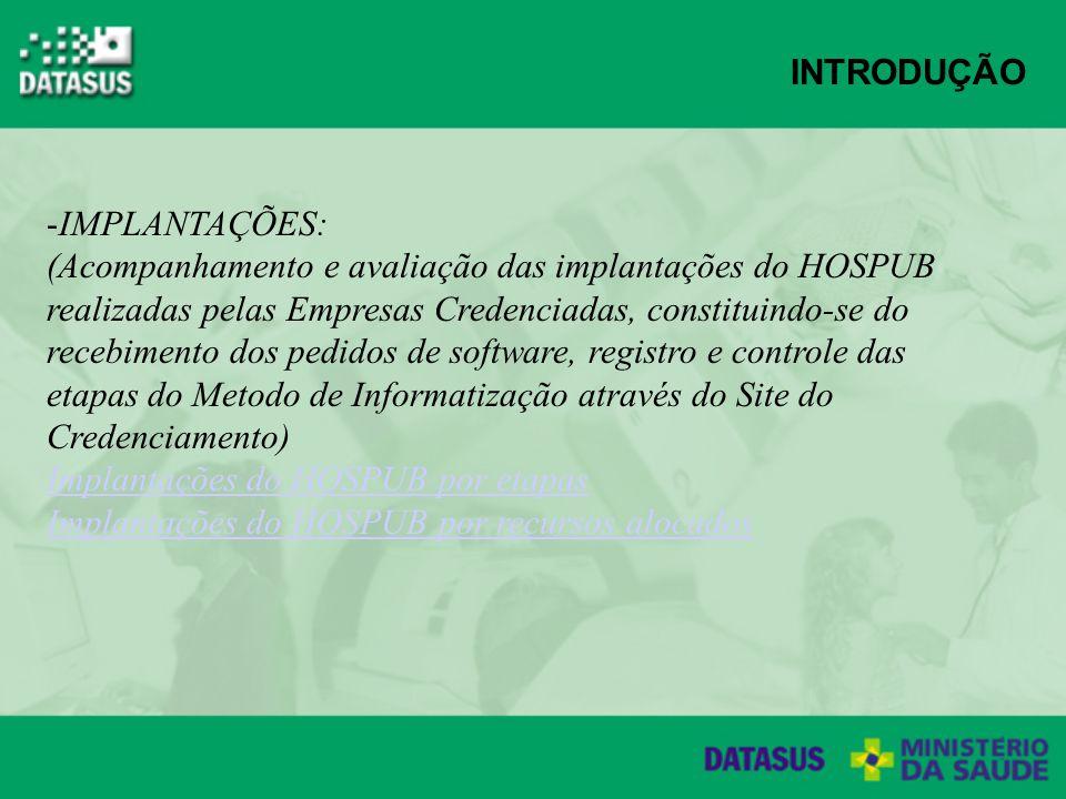 INTRODUÇÃO -IMPLANTAÇÕES: (Acompanhamento e avaliação das implantações do HOSPUB realizadas pelas Empresas Credenciadas, constituindo-se do recebimento dos pedidos de software, registro e controle das etapas do Metodo de Informatização através do Site do Credenciamento) Implantações do HOSPUB por etapas Implantações do HOSPUB por recursos alocados