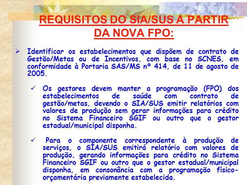 REQUISITOS DO SIA/SUS A PARTIR DA NOVA FPO: Identificar os estabelecimentos que dispõem de contrato de Gestão/Metas ou de Incentivos, com base no SCNE
