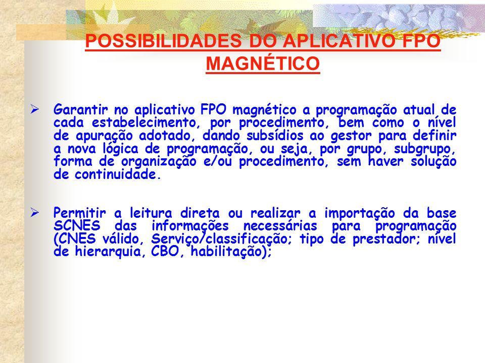 POSSIBILIDADES DO APLICATIVO FPO MAGNÉTICO Garantir no aplicativo FPO magnético a programação atual de cada estabelecimento, por procedimento, bem com