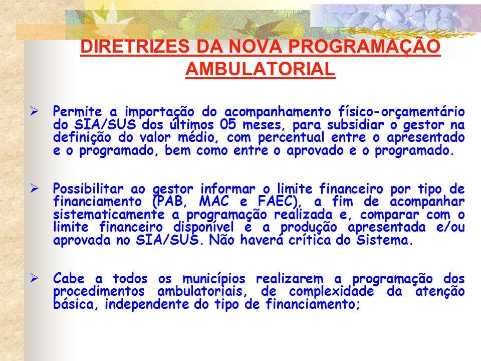 DIRETRIZES DA NOVA PROGRAMAÇÃO AMBULATORIAL Permite a importação do acompanhamento físico-orçamentário do SIA/SUS dos últimos 05 meses, para subsidiar