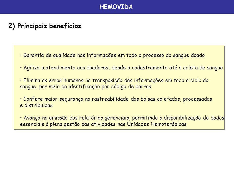 HEMOVIDA 2) Principais benefícios Garantia de qualidade nas informações em todo o processo do sangue doado Agiliza o atendimento aos doadores, desde o
