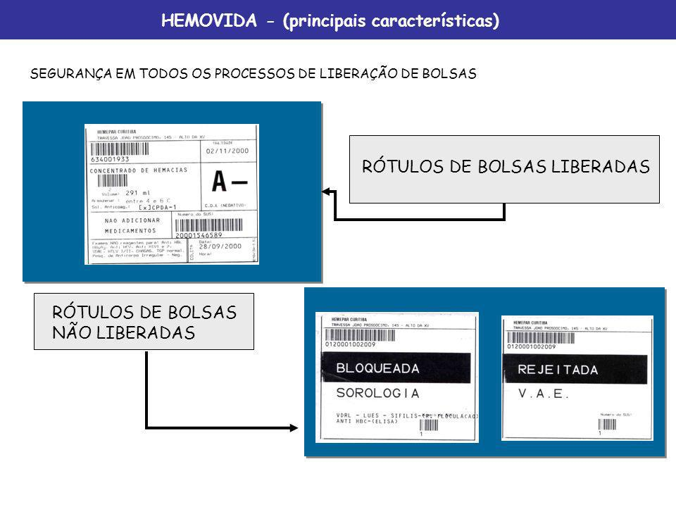 RÓTULOS DE BOLSAS NÃO LIBERADAS RÓTULOS DE BOLSAS LIBERADAS SEGURANÇA EM TODOS OS PROCESSOS DE LIBERAÇÃO DE BOLSAS HEMOVIDA - (principais característi