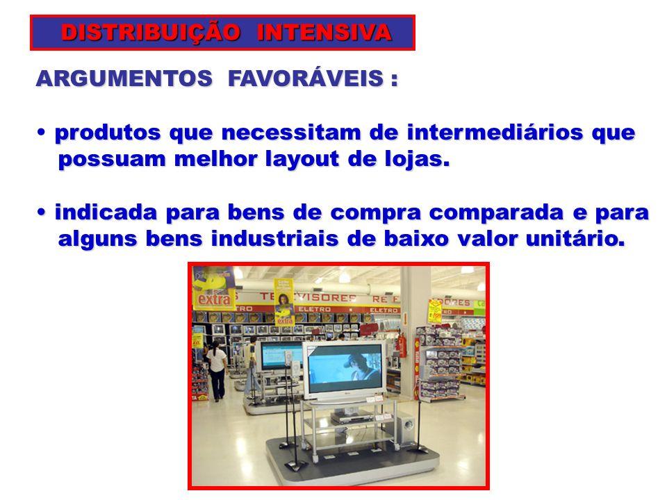 ARGUMENTOS FAVORÁVEIS : produtos que necessitam de intermediários que possuam melhor layout de lojas. possuam melhor layout de lojas. indicada para be