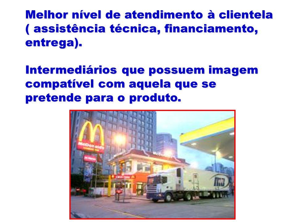 Melhor nível de atendimento à clientela ( assistência técnica, financiamento, entrega). Intermediários que possuem imagem compatível com aquela que se