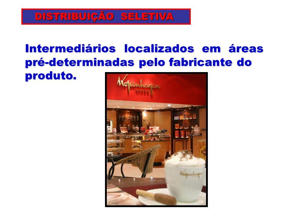 Intermediários localizados em áreas pré-determinadas pelo fabricante do produto. DISTRIBUIÇÃO SELETIVA DISTRIBUIÇÃO SELETIVA