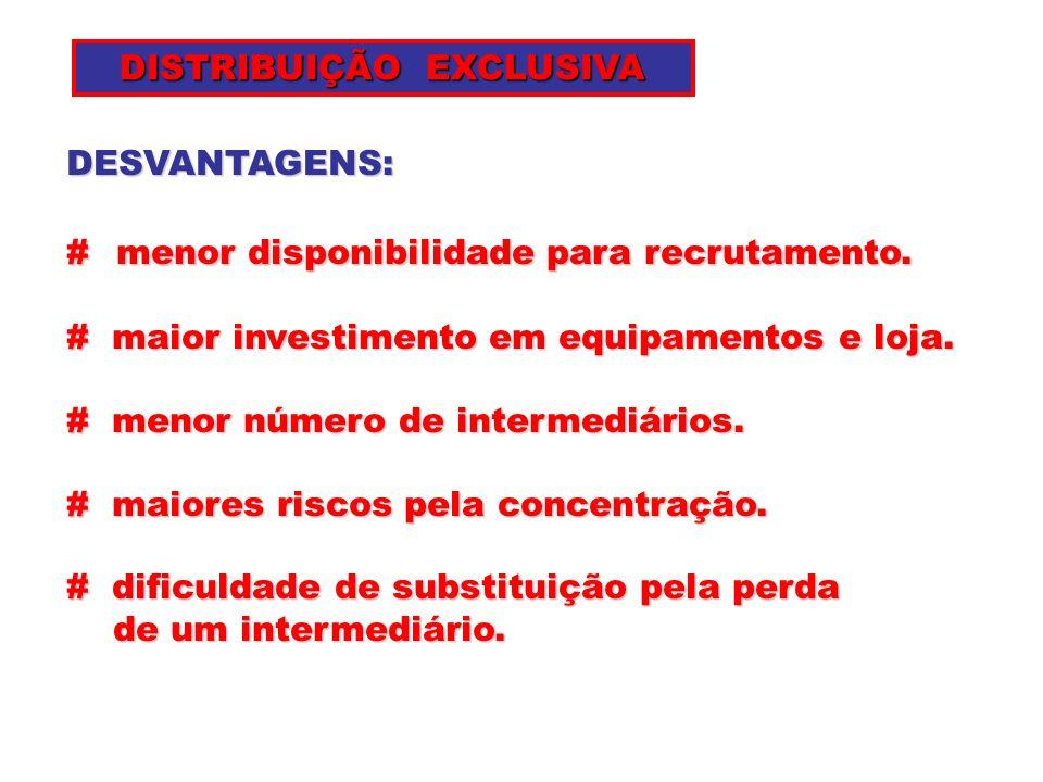 DISTRIBUIÇÃO EXCLUSIVA DISTRIBUIÇÃO EXCLUSIVA DESVANTAGENS: #menor disponibilidade para recrutamento. # menor disponibilidade para recrutamento. # mai