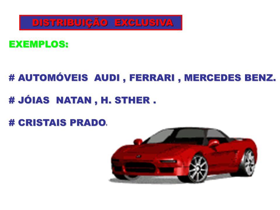 EXEMPLOS: AUTOMÓVEIS AUDI, FERRARI, MERCEDES BENZ. # AUTOMÓVEIS AUDI, FERRARI, MERCEDES BENZ. # JÓIAS NATAN, H. STHER. # CRISTAIS PRADO. DISTRIBUIÇÃO