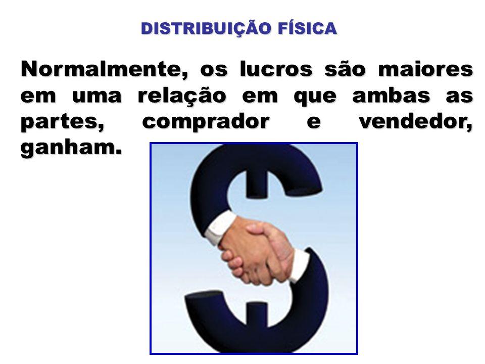 Normalmente, os lucros são maiores em uma relação em que ambas as partes, comprador e vendedor, ganham. DISTRIBUIÇÃO FÍSICA
