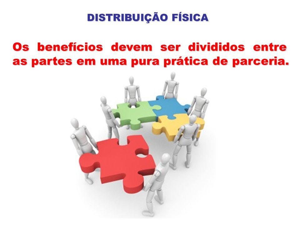 Os benefícios devem ser divididos entre as partes em uma pura prática de parceria. DISTRIBUIÇÃO FÍSICA