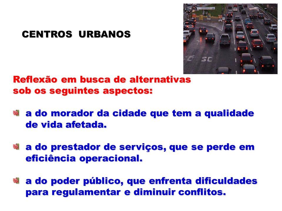 CENTROS URBANOS Reflexão em busca de alternativas sob os seguintes aspectos: a do morador da cidade que tem a qualidade a do morador da cidade que tem