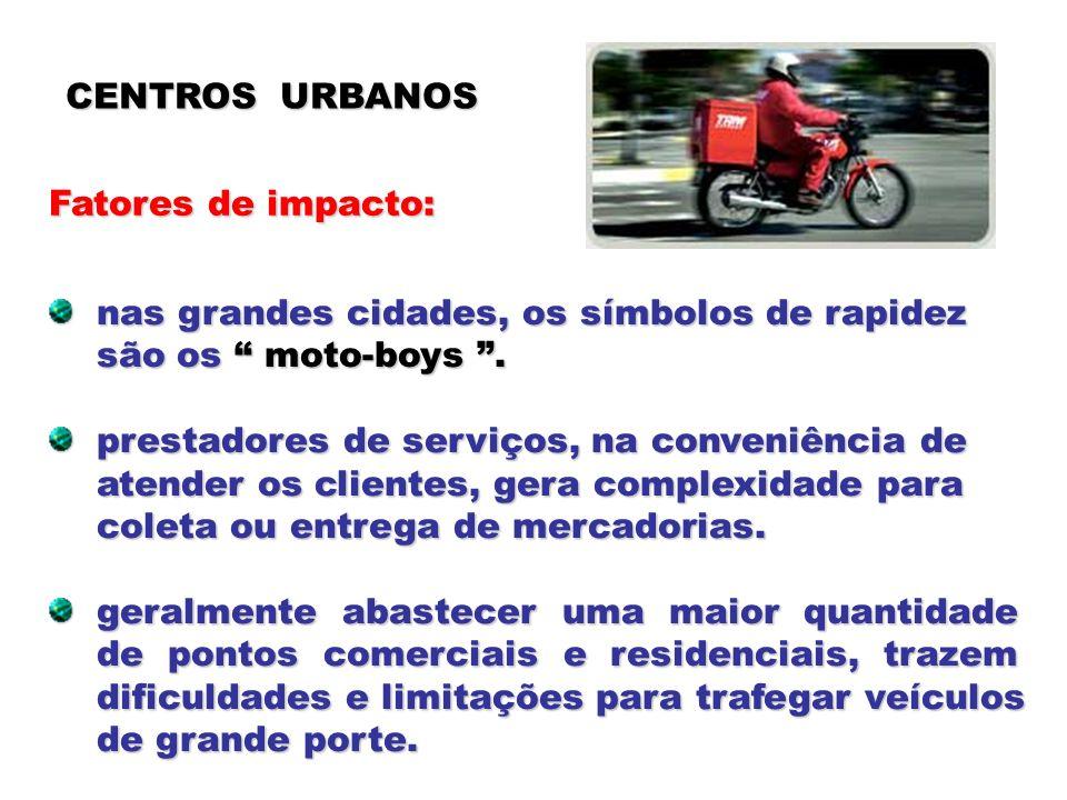 CENTROS URBANOS Fatores de impacto: nas grandes cidades, os símbolos de rapidez nas grandes cidades, os símbolos de rapidez são os moto-boys. são os m