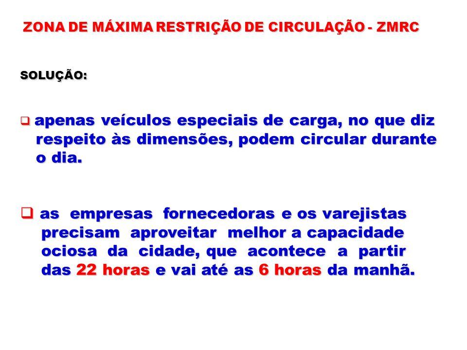 ZONA DE MÁXIMA RESTRIÇÃO DE CIRCULAÇÃO - ZMRC SOLUÇÃO: apenas veículos especiais de carga, no que diz apenas veículos especiais de carga, no que diz r