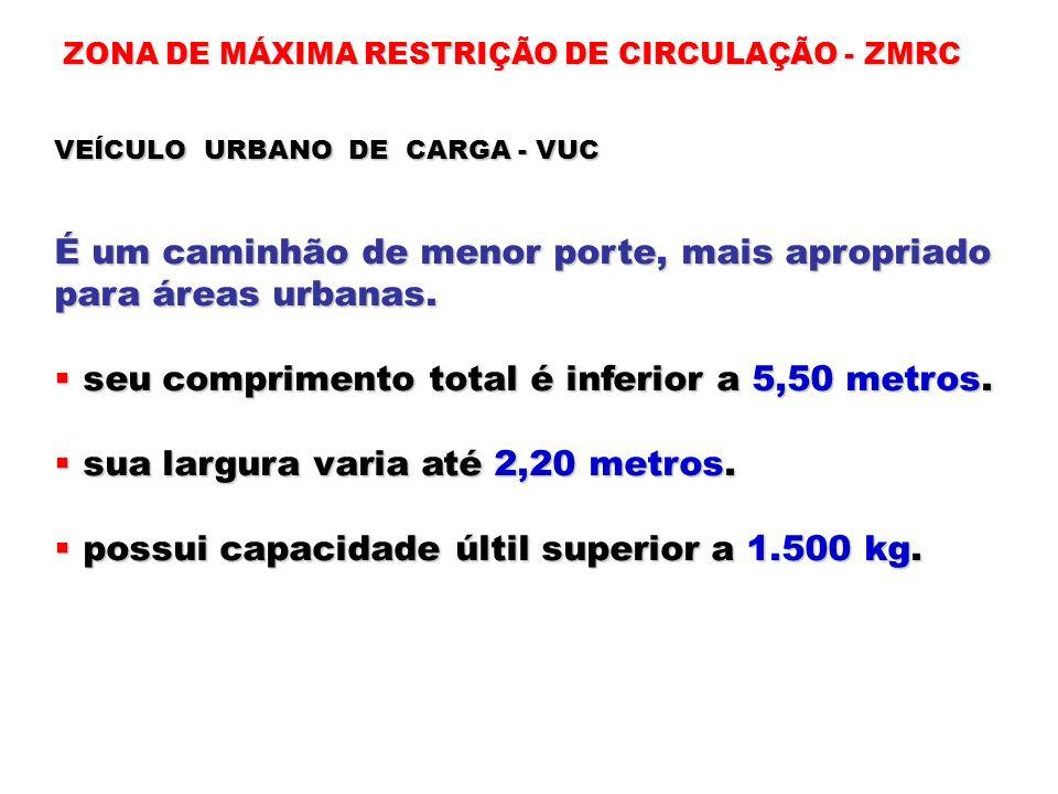 ZONA DE MÁXIMA RESTRIÇÃO DE CIRCULAÇÃO - ZMRC VEÍCULO URBANO DE CARGA - VUC É um caminhão de menor porte, mais apropriado para áreas urbanas. seu comp