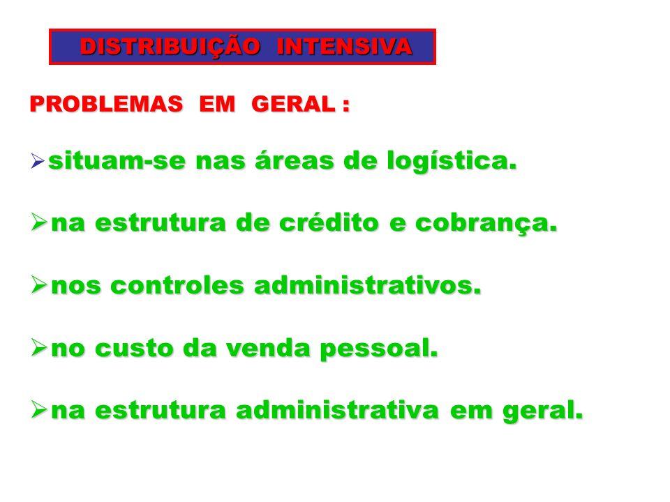 PROBLEMAS EM GERAL : situam-se nas áreas de logística. na estrutura de crédito e cobrança. na estrutura de crédito e cobrança. nos controles administr