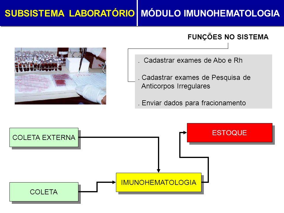 SUBSISTEMA LABORATÓRIO MÓDULO IMUNOHEMATOLOGIA. Cadastrar exames de Abo e Rh. Cadastrar exames de Pesquisa de Anticorpos Irregulares. Enviar dados par