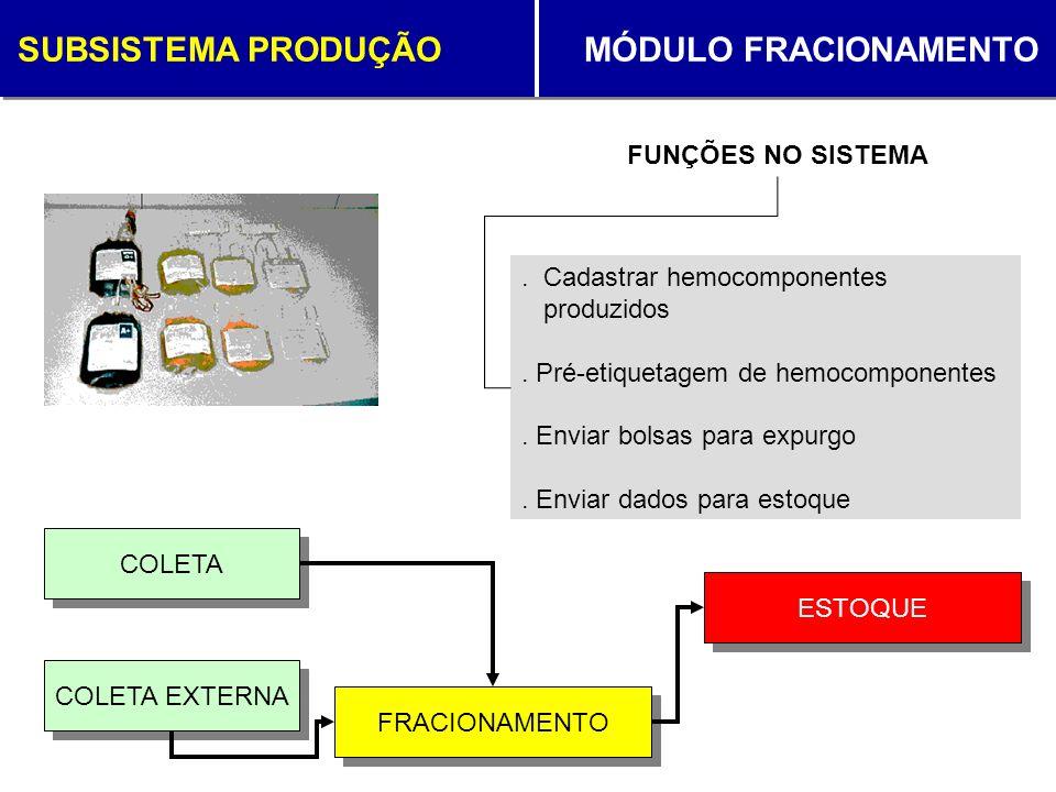SUBSISTEMA PRODUÇÃO MÓDULO FRACIONAMENTO FRACIONAMENTO ESTOQUE COLETA. Cadastrar hemocomponentes produzidos. Pré-etiquetagem de hemocomponentes. Envia