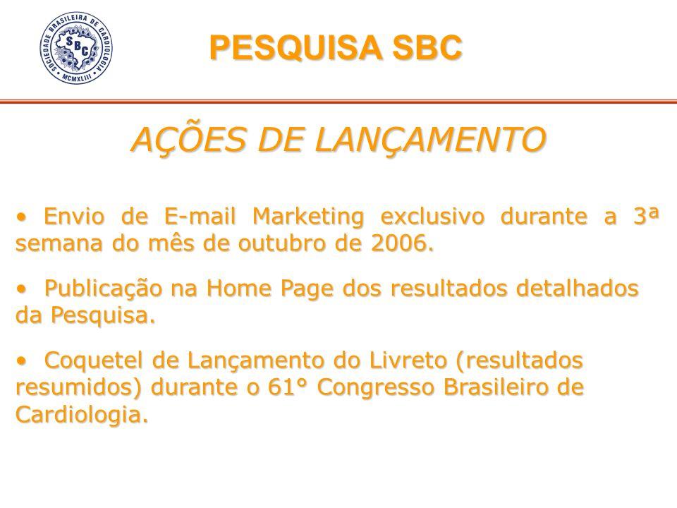 AÇÕES DE LANÇAMENTO Envio de E-mail Marketing exclusivo durante a 3ª semana do mês de outubro de 2006. Envio de E-mail Marketing exclusivo durante a 3