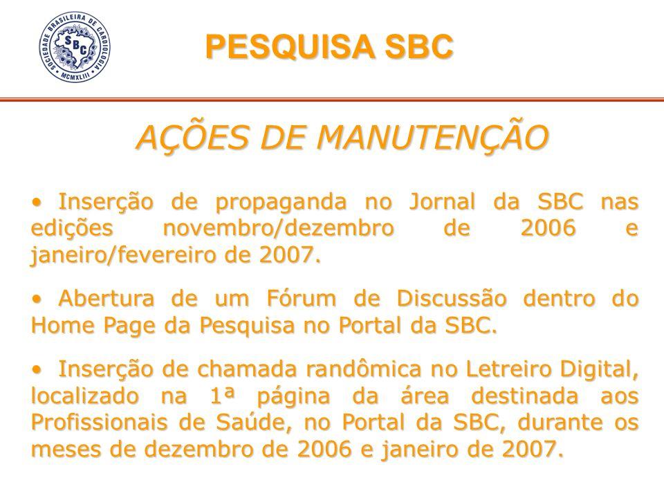 Inserção de propaganda no Jornal da SBC nas edições novembro/dezembro de 2006 e janeiro/fevereiro de 2007. Inserção de propaganda no Jornal da SBC nas