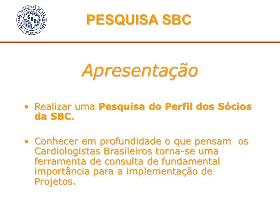 Apresentação Realizar uma Pesquisa do Perfil dos Sócios da SBC.Realizar uma Pesquisa do Perfil dos Sócios da SBC. Conhecer em profundidade o que pensa