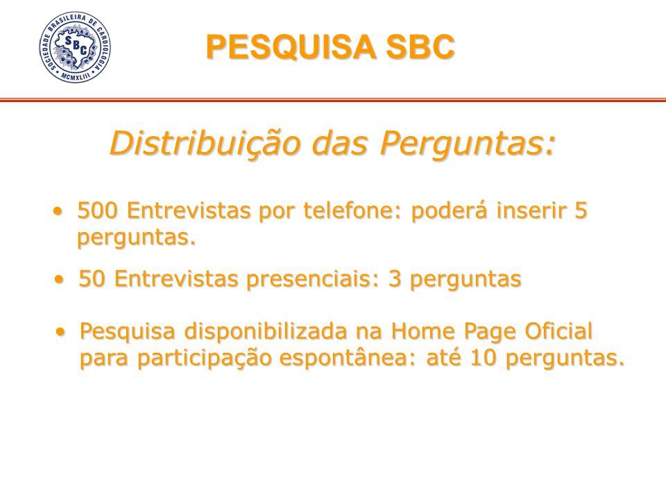 Distribuição das Perguntas: PESQUISA SBC PESQUISA SBC 500 Entrevistas por telefone: poderá inserir 5 perguntas.500 Entrevistas por telefone: poderá in