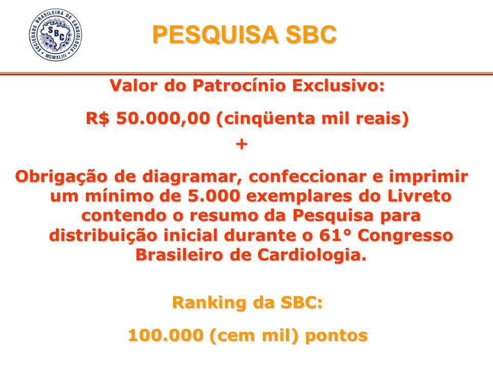 Valor do Patrocínio Exclusivo: R$ 50.000,00 (cinqüenta mil reais) Ranking da SBC: 100.000 (cem mil) pontos + Obrigação de diagramar, confeccionar e im