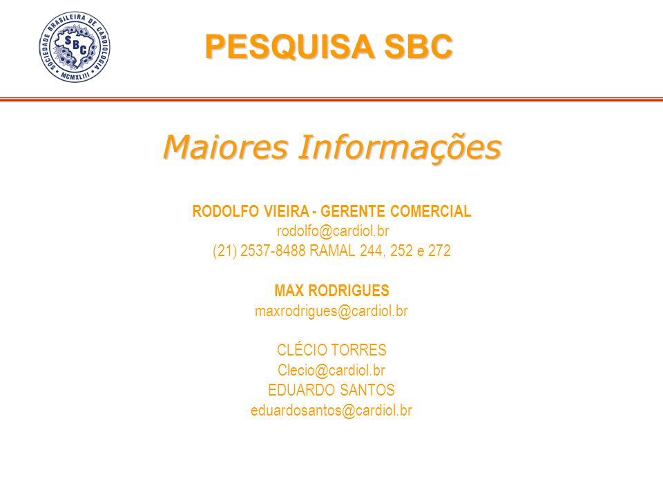 Maiores Informações Maiores Informações RODOLFO VIEIRA - GERENTE COMERCIAL rodolfo@cardiol.br (21) 2537-8488 RAMAL 244, 252 e 272 MAX RODRIGUES maxrod