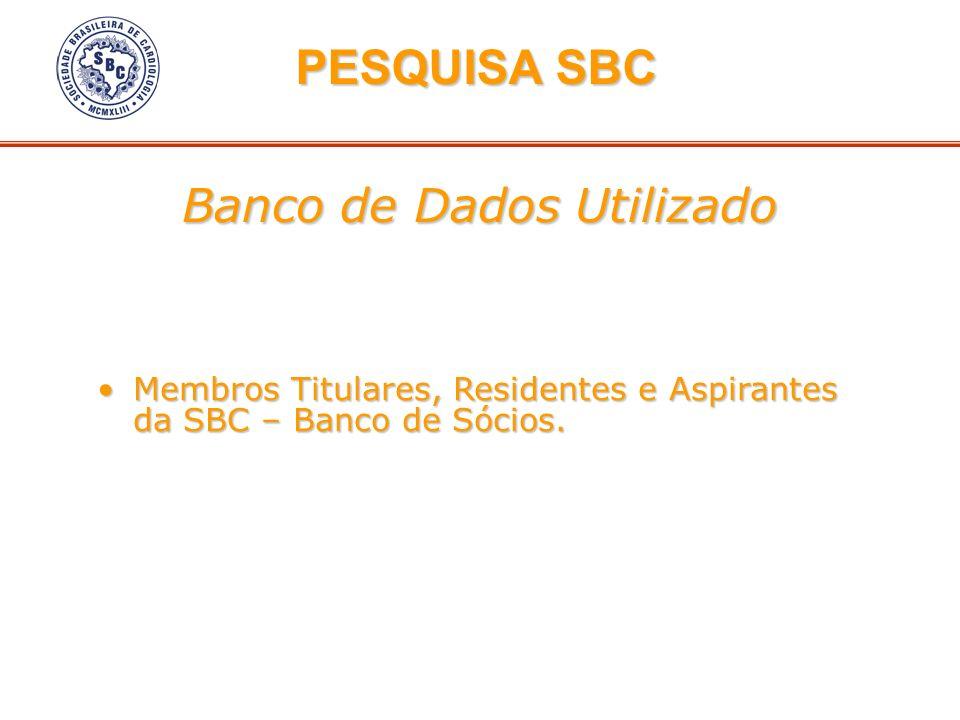 Banco de Dados Utilizado Membros Titulares, Residentes e Aspirantes da SBC – Banco de Sócios.Membros Titulares, Residentes e Aspirantes da SBC – Banco