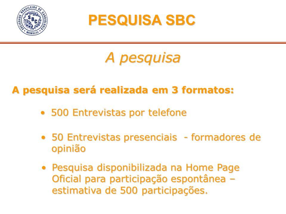 A pesquisa PESQUISA SBC PESQUISA SBC A pesquisa será realizada em 3 formatos: 500 Entrevistas por telefone500 Entrevistas por telefone 50 Entrevistas