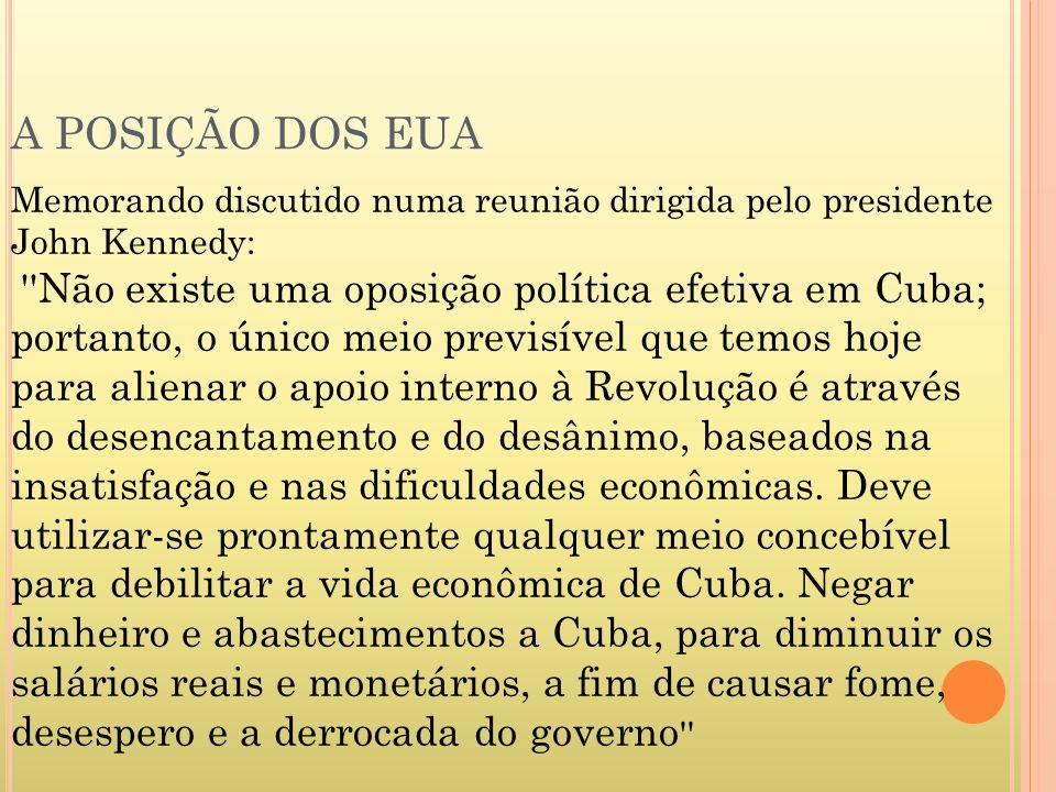 A POSIÇÃO DOS EUA Memorando discutido numa reunião dirigida pelo presidente John Kennedy: ''Não existe uma oposição política efetiva em Cuba; portanto