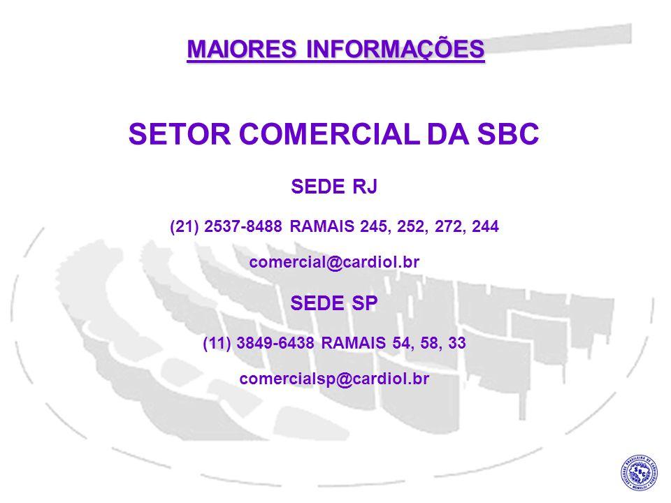 SETOR COMERCIAL DA SBC SEDE RJ (21) 2537-8488 RAMAIS 245, 252, 272, 244 comercial@cardiol.br SEDE SP (11) 3849-6438 RAMAIS 54, 58, 33 comercialsp@card