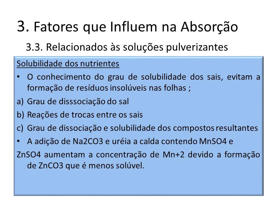 3. Fatores que Influem na Absorção Solubilidade dos nutrientes O conhecimento do grau de solubilidade dos sais, evitam a formação de resíduos insolúve